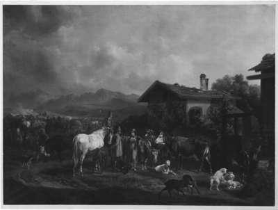 Viehmarkt im bayerischen Gebirge