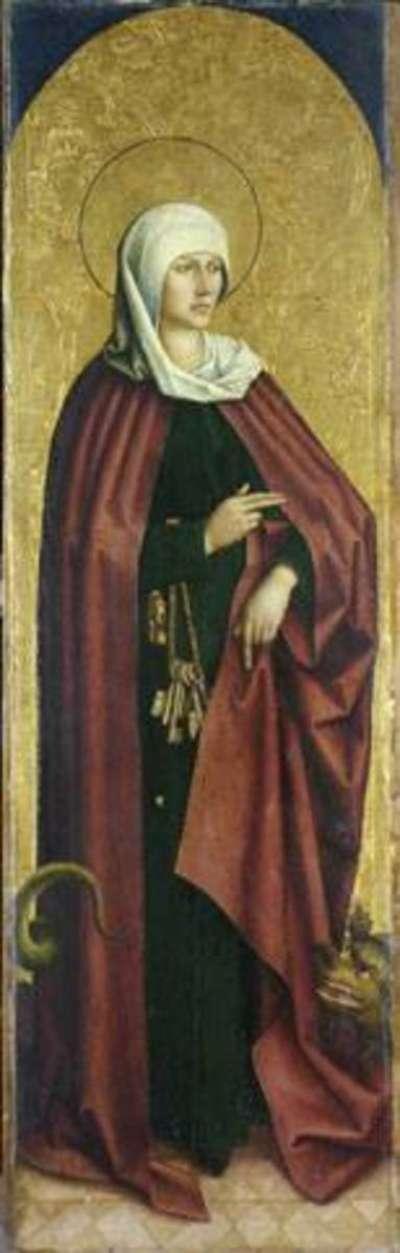Flügel eines Altares: Die hl. Margarethe (Martha?) Rückseite: Hl. Afra