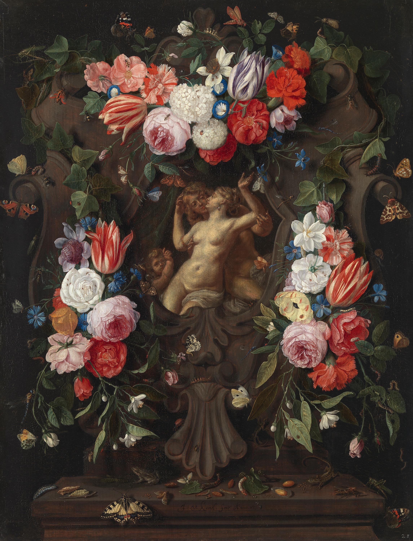 Blumenstück mit Venus, Adonis und Amor