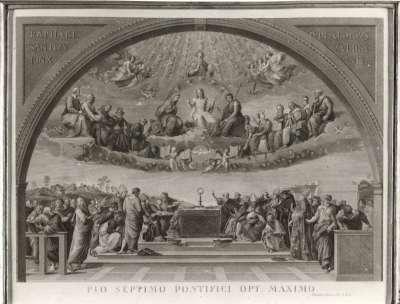 """""""Kirchliches Motiv"""" (Stich von Francesco Aquila nach Raffaels Disputà)"""