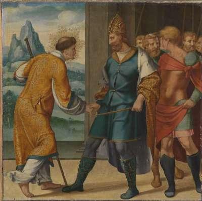 Cyriakus-Folge: Kaiser Diokletian reicht dem hl. Cyriakus die Hand
