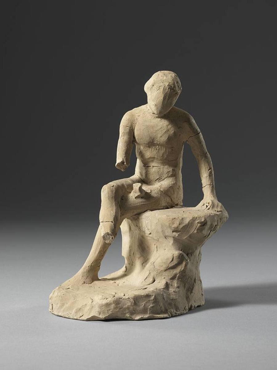 Bozetto eines sitzenden männlichen Aktes (Freundespaar)