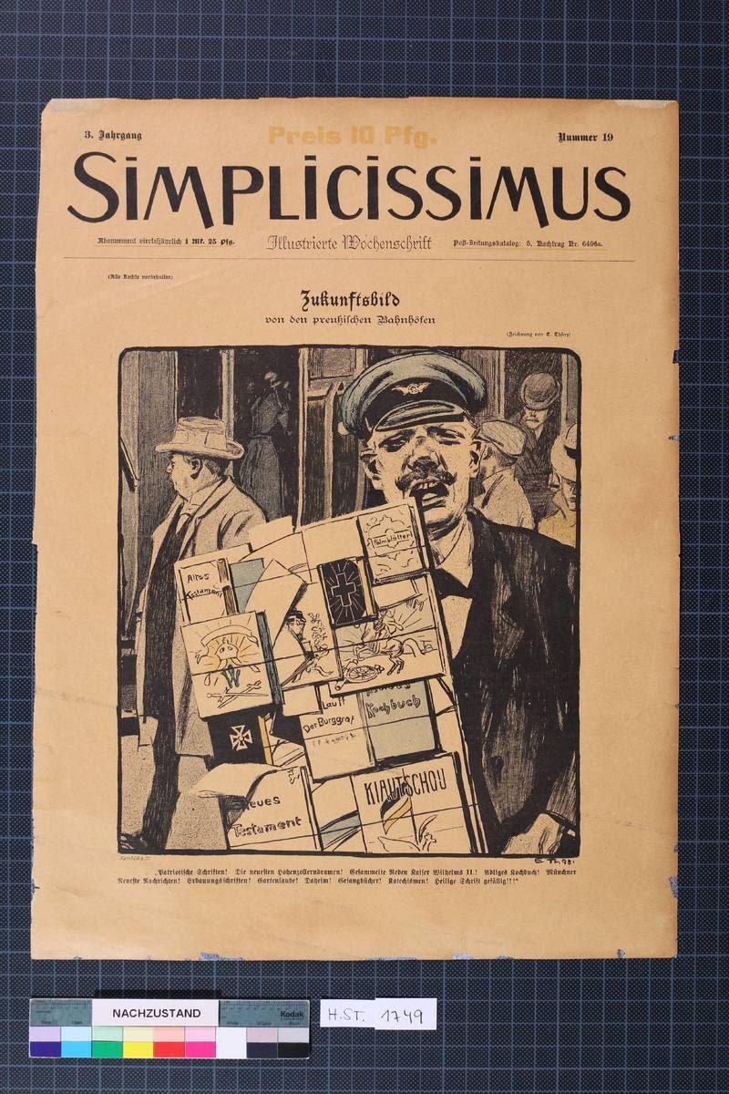 """""""Zukunftsbild""""aus der Zeitschrift Simplicissimus Titelblatt, 3.Jg. Nr.19"""
