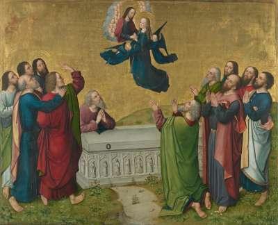 Marienleben: Himmelfahrt Mariens Rückseite: untere Hälfte einer Krönung Mariens