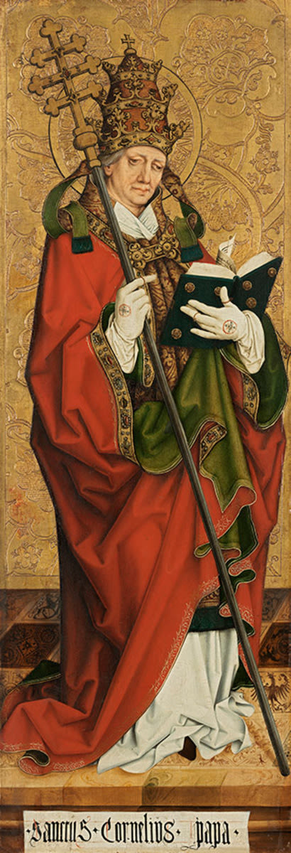Linker Altarflügel, Innenseite: Papst Cornelius