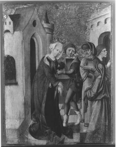 Gefangennahme der hl. Barbara (?) Rückseite: Muttergottes mit Kind und hl. Katharina