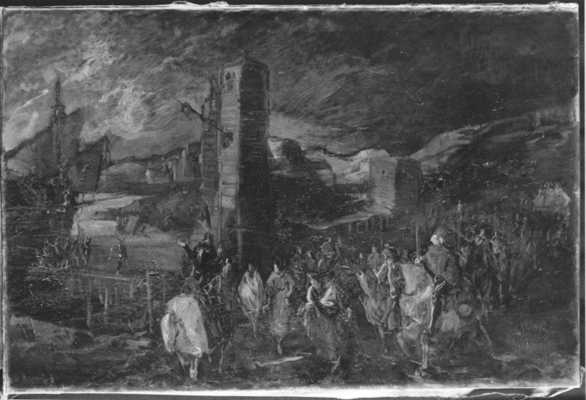 Inkas übergeben eine Stadt an die Spanier
