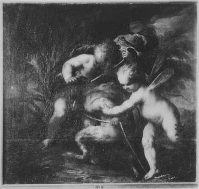 Zwei Eroten fesseln einen jungen Satyr