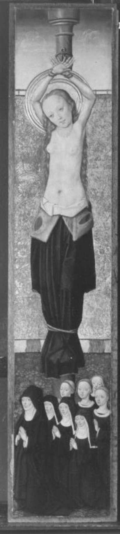 Flügelaltar: Hl. Agatha mit Stifterin und sieben Töchtern Außenseite: Hl. Benedikt