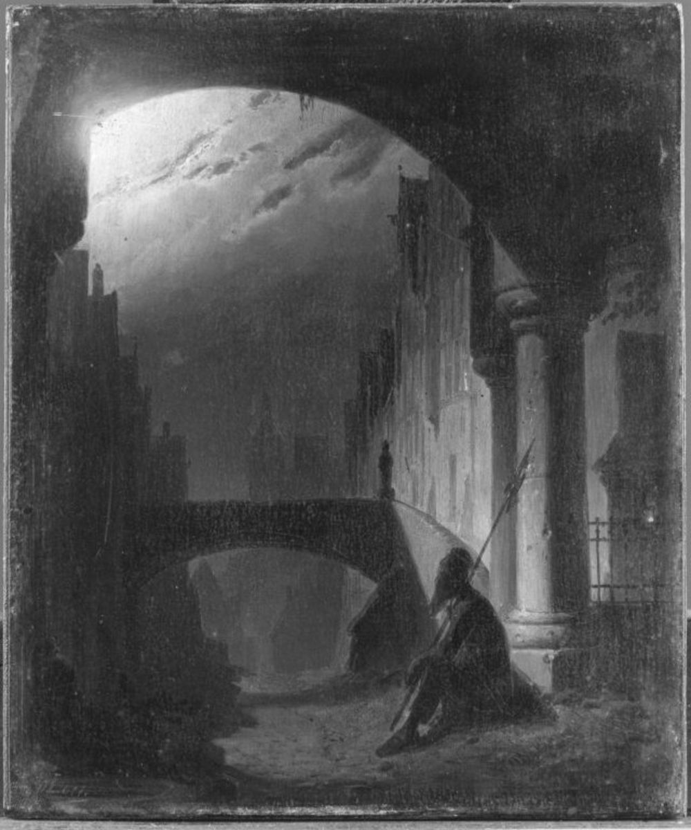 Nachtwächter mit Hellebarde