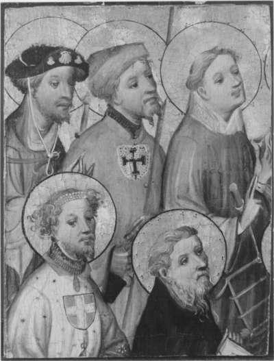 Fragment einer Altartafel: Die hll. Georg (?), Antonius Eremita (?), Jakobus d. Ä., Gereon und Laurentius