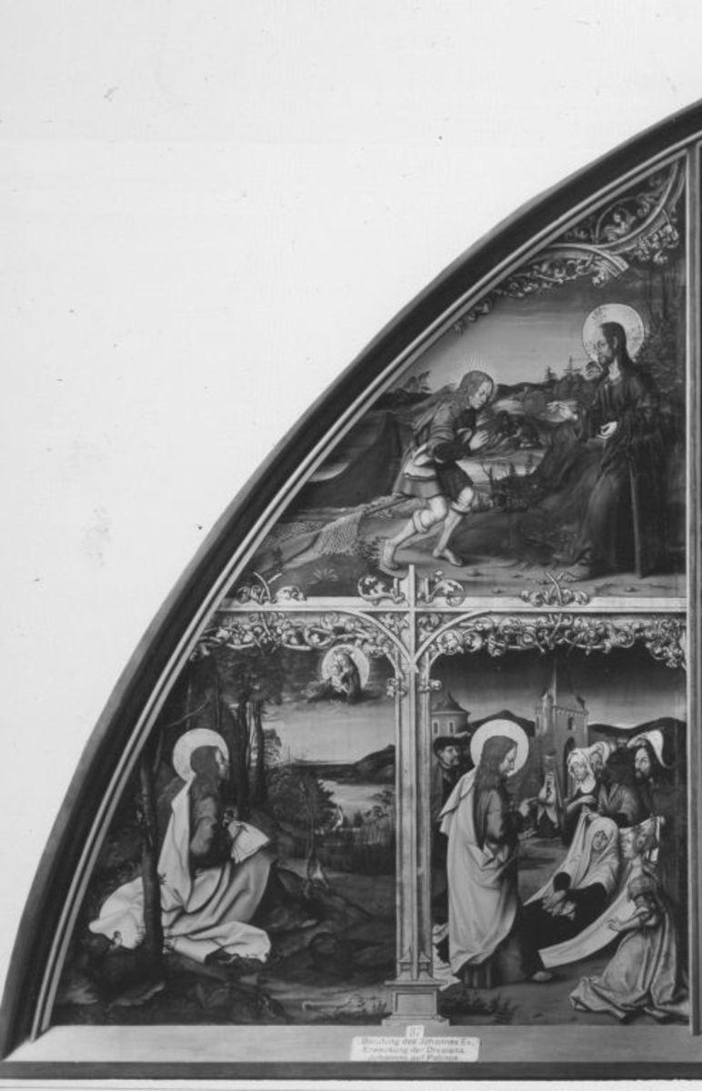 Basilika San Giovanni in Laterano, linke Tafel: Szenen aus dem Leben des hl. Johannes d. Ev.