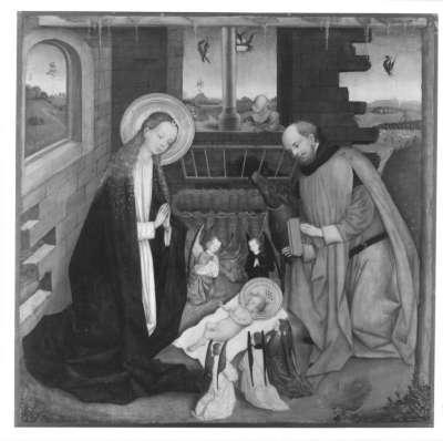 Tafel eines Altares: Geburt Christi Rückseite: Christus in Emmaus