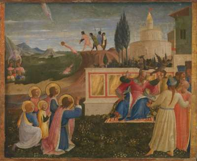 Die hll. Cosmas und Damian und ihre Brüder werden ins Meer gestürzt, von einem Engel errettet und befreien Lysias von Dämonen