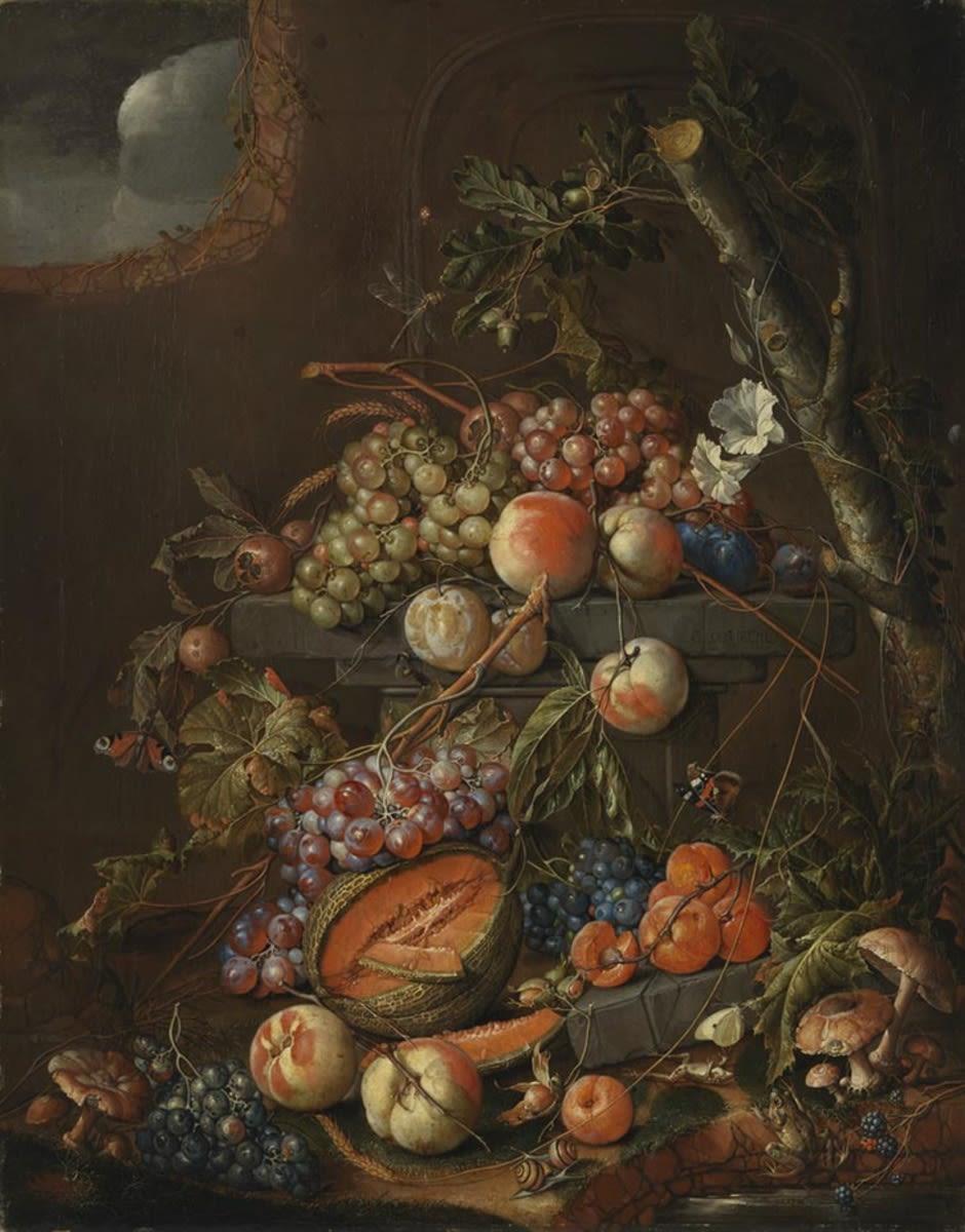 Früchtestillleben mit Fröschen