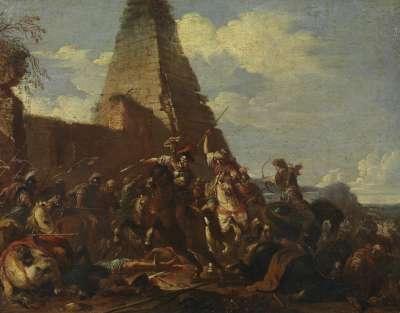 Reiterkampf gegen Orientalen vor einer Pyramide