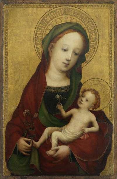 Maria mit Kind mit der Erbsenblüte
