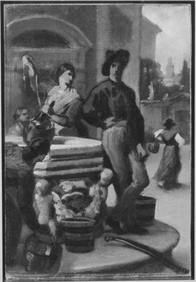 Gruppe von Menschen am Brunnen