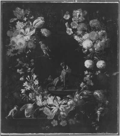 Blumenstück mit Meerkatze