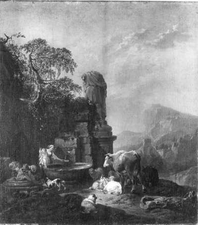 Hirtenfamilie und Herde am Brunnen