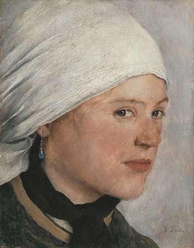 Mädchen mit weißem Kopftuch