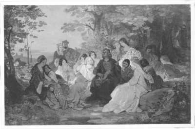 Der Minnesänger Frauenlob im Kreise seiner Frauen