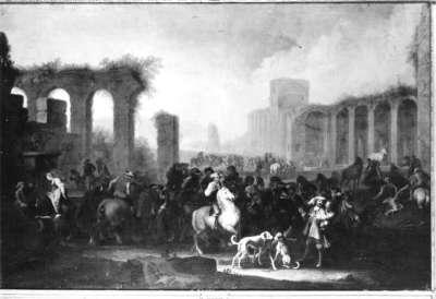Pferdemarkt an den Ruinen einer römischen Wasserleitung