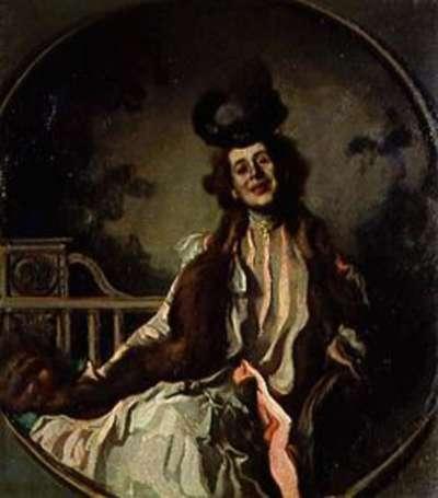 Damenbildnis in Grau und Rosa