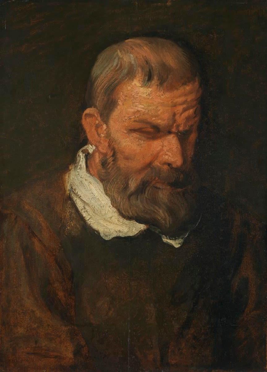 Studienkopf eines Mannes im Dreiviertelprofil nach unten rechts blickend