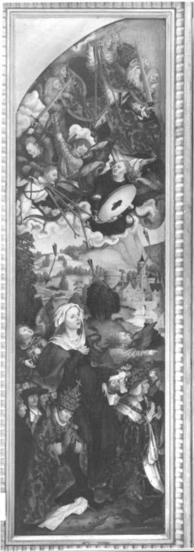 Flügel eines Pestaltares: Gottvater mit den Zornespfeilen und Maria als Schutzmantelmadonna