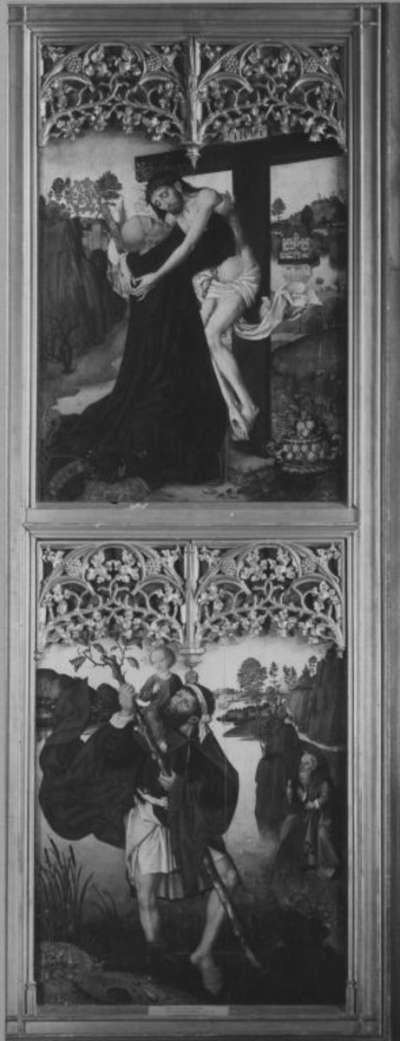 Veitsaltar: Der hl. Bernhard umarmt den Gekreuzigten Rückseite: Der hl. Christophorus
