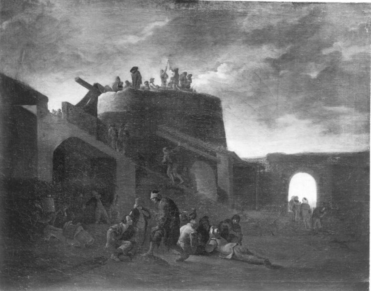 Szene um einen römischen Kalkofen