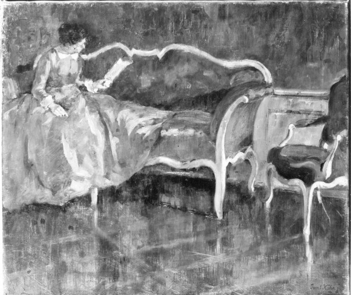 Interieur mit lesender Dame