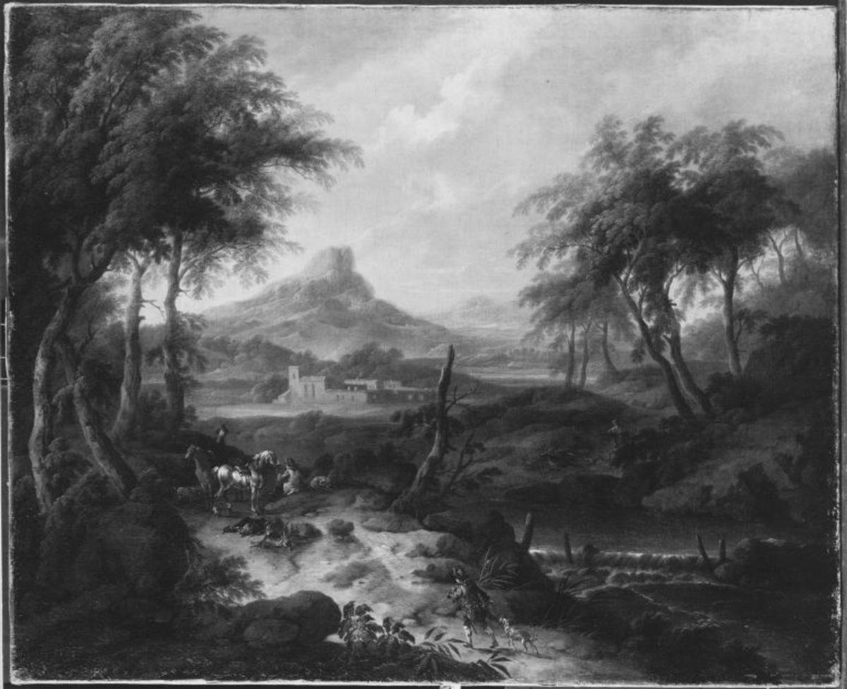 Südliche Berglandschaft mit Jagdstaffage