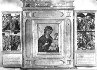 Altärchen mit Ikone und Darstellung der Sieben Freuden und Schmerzen Mariens