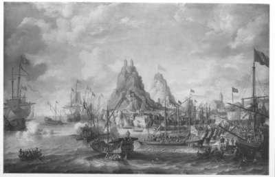 Seeschlacht vor einem Hafen