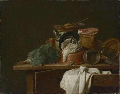Stillleben mit Küchengeschirr und totem Rebhuhn