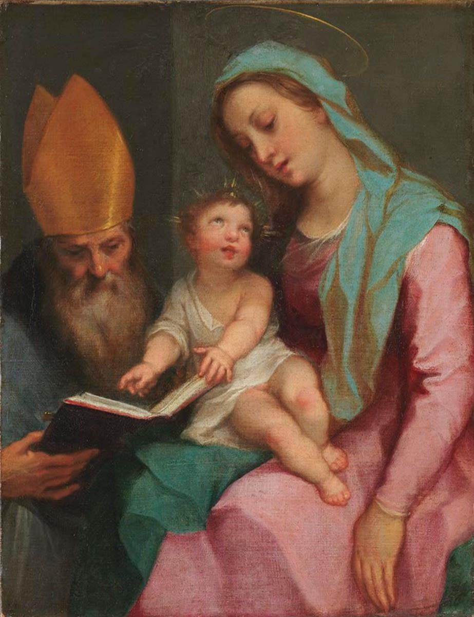 Maria mit Kind und hl. Ambrosius