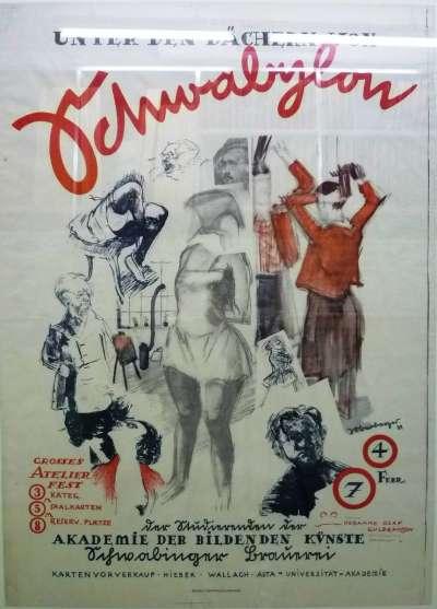 Plakat fürs Atelierfest der Akademie der bildenden Künste, München