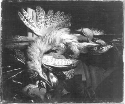 Jagdbeute mit Rohrdommel und weiteren Vögeln
