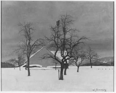 Winterlicher Obstgarten