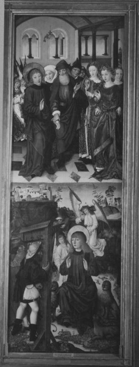 Veitsaltar: Der hl. Vitus verweigert die Heirat, der hl. Vitus in der Löwengrube Rückseite: Die hll. Margarethe und Dorothea