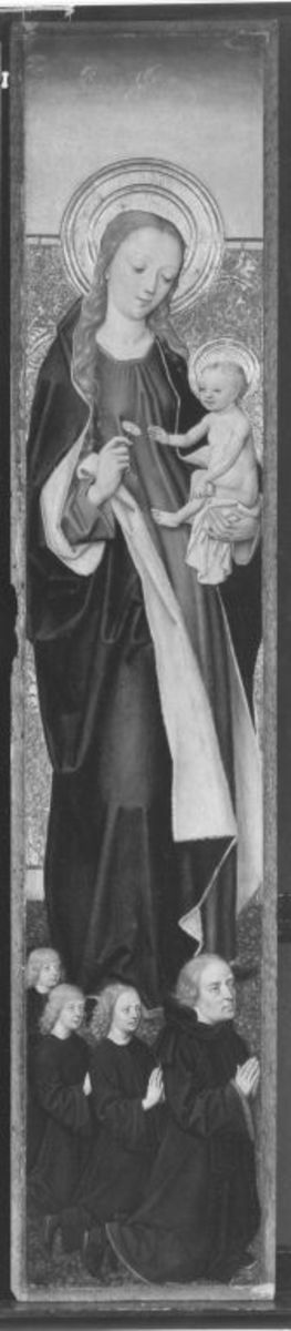 Flügelaltar: Maria mit Kind und Stifter mit drei Söhnen Außenseite: Hl. Bernhard von Clairvaux mit dem Gekreuzigten