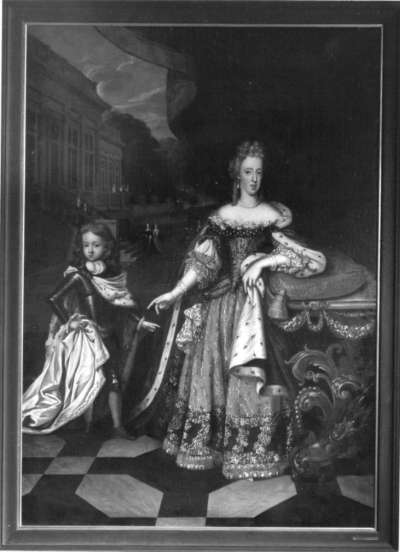 Bildnis der Maria Antonia, Tochter Kaiser Leopolds I., Gemahlin Kurfürst Max II. Emanuels von Bayern, mit ihrem Sohn Joseph Ferdinand