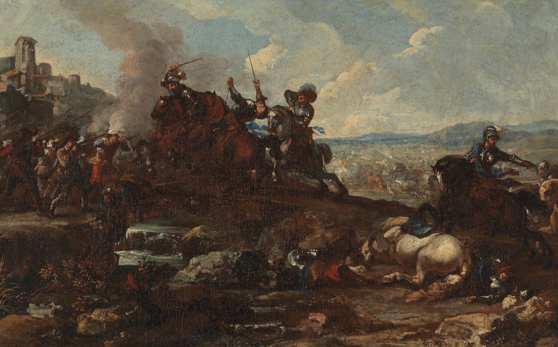 Gefecht zwischen Reitern und Fußvolk vor einer Stadt