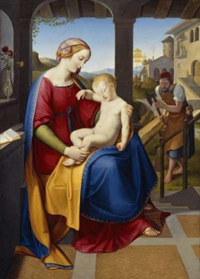 Die Heilige Familie unter dem Portikus