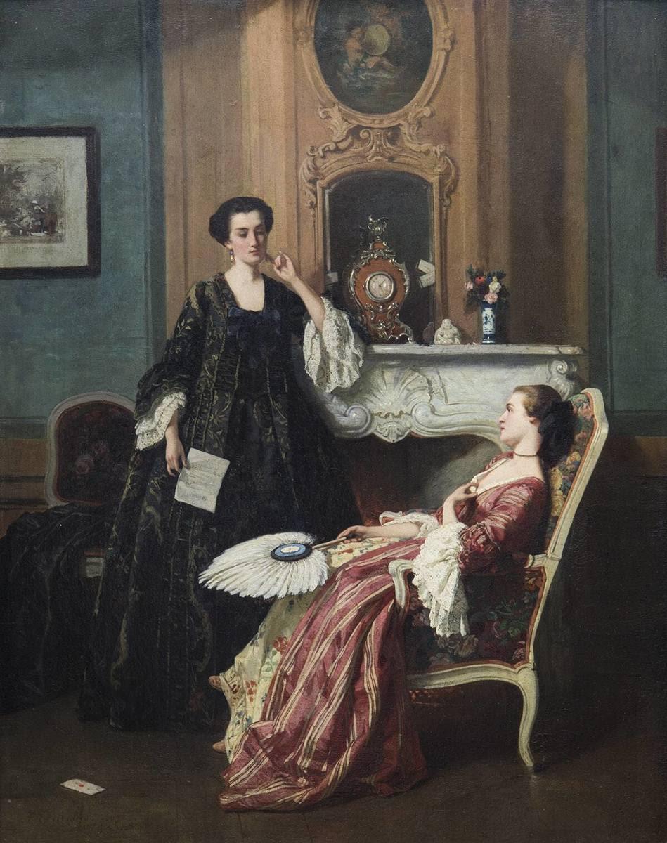 Mutter und Tochter im Gespräch am Kamin