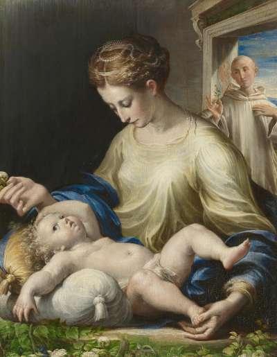 Maria mit Kind und einem Mönch