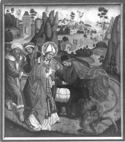 Weihenstephaner Altar: Der hl. Korbinian und der Bär Rückseite: Kreuztragung Christi