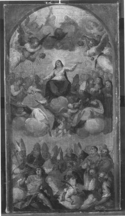 Maria auf Wolken mit Heiligen